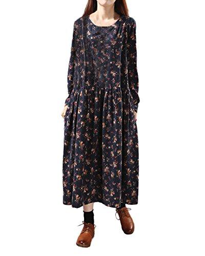 ZANZEA Damen Floral Vintage Langarm Slim Herbst Wasserball Boho Lose Maxi Kleid Navy EU 48/Etikettgröße 2XL (V-neck Tunika Vintage)