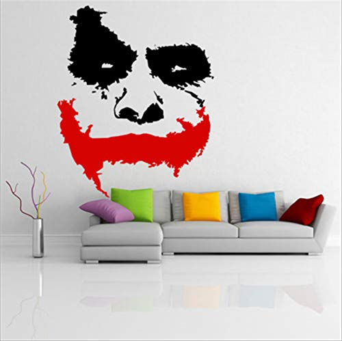 Vinyl Wandaufkleber Unheimlich Clown Gesicht Dark Knight Aufkleber Wandbild Familie Badezimmer Dekoration Kreative Kühlschrank Aufkleber 66 * 88 Cm