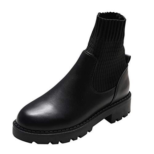 Kurze Stiefel Damen Socke Knöchel Segelschuhe Leder Freizeitschuhe Flach Stiefeletten Römische Stil Casual Slip on Booties ABsoar -