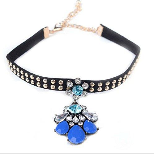 Velours rivet Collier Choker diamant pendentif Chain Choker for Women Girls blue