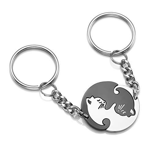 PiercingJ Paare Schlüsselanhänger Set, 2 STK. Edelstahl Puzzle Partner Katze Schlüsselbund Keychain Schlüsselring für Herren Damen,Silber/Schwarz/Gold (Katze #01 (2 STK.))