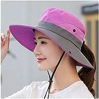 Señoras de la cola de caballo Sombrero Protección UV UPF verano del borde ancho transpirable sombrero for el sol al aire libre Senderismo Pesca Cubo impermeable sombrero de Boonie ( Color : Purple )