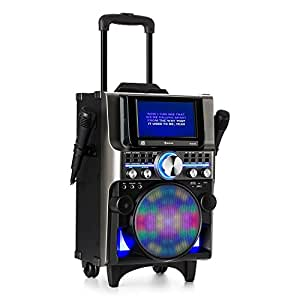 auna DisGo Box 360 • Party Karaokeanlage • Karaoke-Player • 350 Watt max. • 2 x Mikrofon • HDMI • Bluetooth • USB • Tablet-Halterung • Akku • schwarz