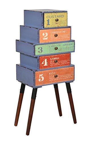 ts-ideen Design Kommode Schrank Ablage Standregal mit 5 Schubladen im Shabby Used Look Holz mit...
