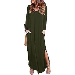 kefirlily Mujer Vestido Largo de Manga Larga con Bolsillo Dividido Vestido de Camiseta Casual Suelta Ejercito Verde S