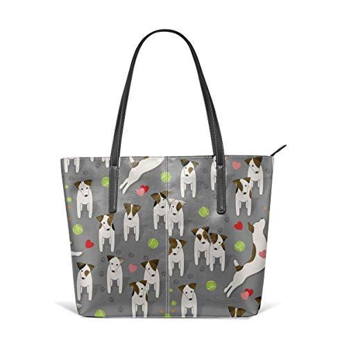 Frauen weiches Leder Tote Umhängetasche Parson Jack Russells Hunde mit Herz Medium Grey Fashion Handtaschen Satchel Geldbörse -
