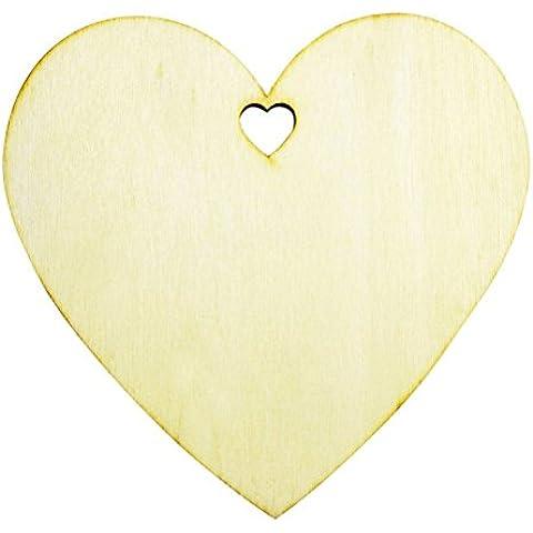 FENICAL 50 Piezas Corazón en Madera Adornos Etiquetas de Regalo Tarjetas Decorativas 100mm