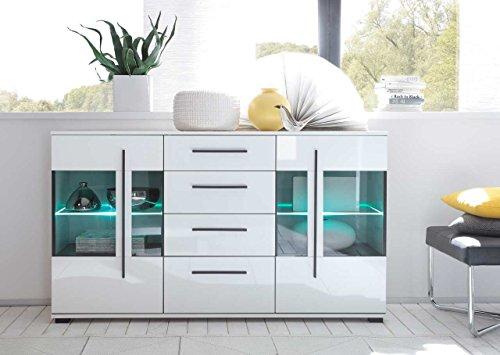 Sideboard in weiß mit Hochglanz Tiefziefronten und Grauglas, 2 Türen, 4 Schubkästen, Maße: B/H/T ca. 150/86/42 cm