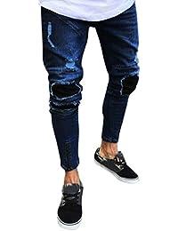 7e009f6cdd64 Ansenesna Hose Herren Sommer Jeans Lang Eng Destroyed Freizeithose mit Reisverschluss  Männer Denim Zerrissen Outdoor Hosen