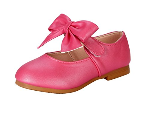 Brinny Bébé Enfants Printemps Raffinement Princesse Plates Chaussures de Danse en Faux Cuir Ballerines Grande Papillon nœud Or Pink pour 1-12 ans fille Rose