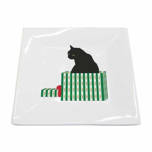 Paperproducts Design New Bone China Small Square Plate Featuring Black Cat Cadeau Design, 5.75 x 5.75