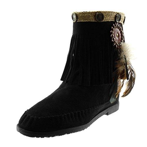 Angkorly - Damen Schuhe Stiefeletten Stiefel - Mokassin Stiefel - Folk - Slip-on - Fransen - Feder - Nieten - Besetzt Blockabsatz 1.5 cm - Schwarz M866 T 40