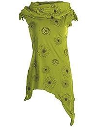 Vishes - Alternative Bekleidung – Bedruckte Tunika aus Baumwolle mit Kragenkapuze