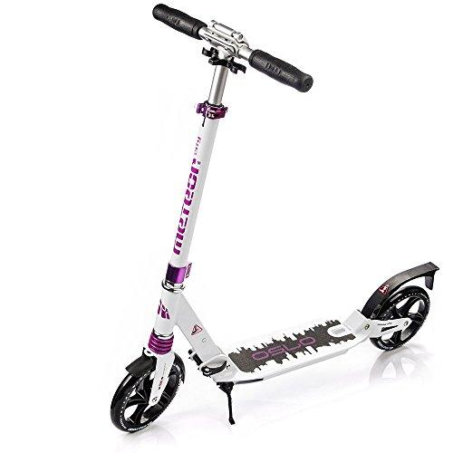 meteor® City Scooter:Big Wheel 200 Kickscooter Tret-Roller, Stunt Scooter klappbar, Erwachsene & Kinderroller, Sehr langlebig -bis zu 100Kg, (Weiß - Schwarz)