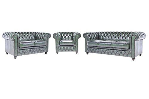Original Chesterfield Sofas und Sessel – 1 / 2 / 3 Sitzer – Vollständig Handgewaschenes Leder – Antik Grün