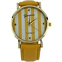 SODIAL(R) Nuevo Moda Reloj de cuero para senora mujer Reloj de vestir Relojes de cuarzo (Amarillo)