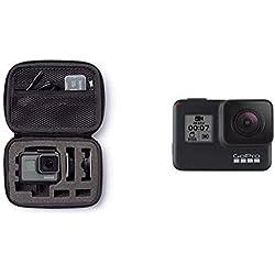 AmazonBasics Étui pour GoPro - Taille XS & GoPro HERO7 Black - Caméra numérique embarquée étanche avec écran tactile, vidéo HD 4K, photos 12 MP, diffusion en direct et stabilisation intégrée