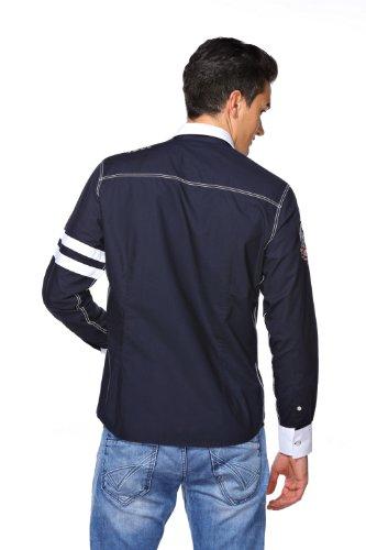 M Conte Herren Hemd Slim Fit, Modern Super Qualität Weiss Marine Blau Rot M L XL XXL Luciano Blau