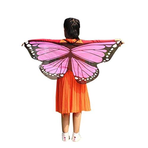 OVERDOSE Faschingskostüme Damen 145 * 65CM Frauen Weiche Gewebe Schmetterlings Flügel Schal feenhafte Damen Nymphe Pixie Kostüm Zusatz halloween Cosplay Weihnachten Kostüm (118 * 48CM, Q-Pink)