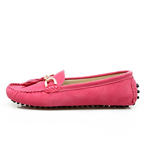 Minitoo femmes-dérapant sur le confort Pompon Loafers chaussures en daim plates de conduite Rose - rose