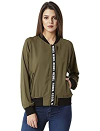 Miss Chase Women's Olive Green Bomber Jacket