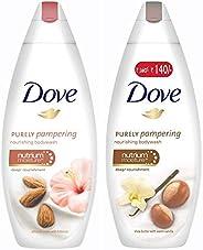 Dove Almond Cream and Hibiscus Body Wash, 190ml & Dove Shea Butter and Warm Vanilla Body Wash, 190ml