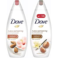 Dove Almond Cream and Hibiscus Body Wash, 190ml & Dove Shea Butter and Warm Vanilla Body Wash, 190ml
