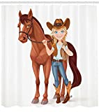 Soefipok Tenda da Doccia a Cavallo, Teen cowgir regge redini sellato a Cavallo Tema Occidentale a Fumetti Stile Fumetto Carattere Divertente, Arredamento da Bagno in Tessuto Set con ami, Multicolor