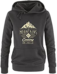 Comedy Shirts - The mountains are calling and i must go - Damen Hoodie - Kapuze, Kängurutasche, Langarm, Print-Pulli