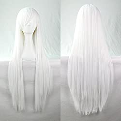 Falamka Peluca unisex, de pelo largo, color blanco plateado, estilo Cosplay