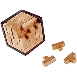 Juguete Rompecabezas Bloques Huecos de Madera Tetris Niños Adultos