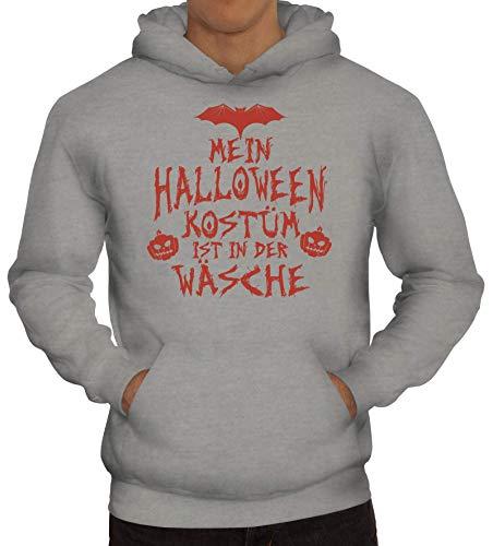 ShirtStreet Grusel Gruppen Herren Hoodie Männer Kapuzenpullover Mein Halloween Kostüm ist in der Wäsche 3, Größe: M,Graumeliert