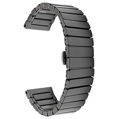 Keramik Uhrenarmband für Herren schwarz 22mm Schnellspanner Uhrenarmband Armband Armband Ersatz (Ersatz-nautica-uhr-band)