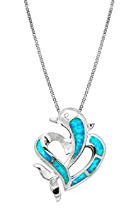 Sterling Silver Dolphin Heart CZ Necklace Pendant with Synthetic Blue Opal and 18 Box Chain by Honolulu Jewelry Company