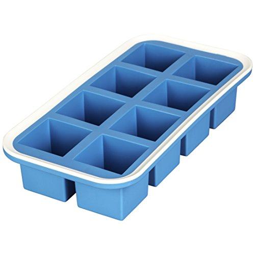 Levivo Silikon Eiswürfelform für 8 Eiswürfel á 5 x 5 x 5 cm, Antihaft Eiswürfelbehälter, Eiswürfelbereiter Blau, Eis Form