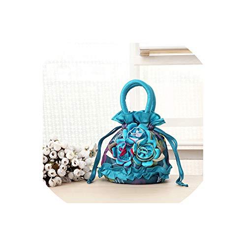 Strawberryran Embroidery Bag Bunte Blumen Seide Handtasche Frauen-Minigeldbörse Paket-Telefon-Beutel, Blau