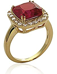Isady - Alarice Gold - Ladies Ring - 18ct Yellow Gold Plated - Cubic Zirconia Red Ruby