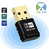 NETVIP Adaptador WiFi 5GHz Tarjeta Red WiFi Receptor WiFi USB AC600 Banda Dual Adaptador Inalambrico WiFi para WPS Adaptador de Red Compatible con Windows 7/8/ 8.1/10/ XP/Vista/Mac OS