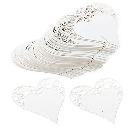 Glas Karte Hohl Herz Party Tischnummer Pappbecher Dekorationen Mark Karten Placeholder Marker Flasche Marker für Hochzeit Gunsten Party ()