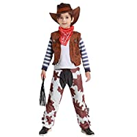 Tacobear Cowboy Costume for Kids Role Play Cowboy Fancy Dress Costume Wild West Halloween Outfit for Kids Toddlers Boys Girls 5 Pieces