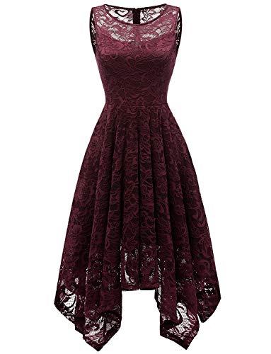 GardenWed Damen Ärmellos Spitzen Kleider Unregelmässig Cocktailkleider Abendkleid Burgundy XL