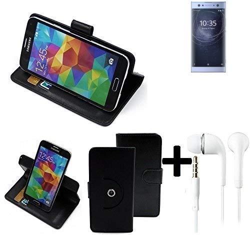 K-S-Trade® Hülle Schutzhülle Case für Sony Xperia XA2 Ultra Dual-SIM + Earphones Handyhülle Flipcase Smartphone Cover Handy Schutz Tasche Walletcase schwarz (1x)