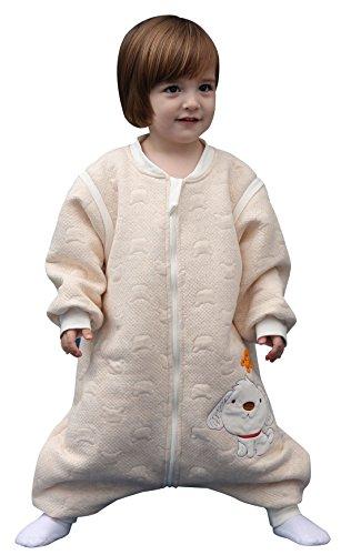 Happy Cherry - Mono Pijama para Bebés Niños Niñas Saco de Dormir Manga Larga Desmontable de Algodón para Otoño Primavera - Amarillo - 12-24 meses