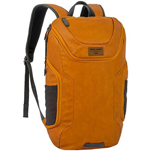 Highlander 22 Liter Tagesrucksack - Stylischer wasserdichter Rucksack mit gepolstertem Laptopfach - The Bahn (Herbst Orange)
