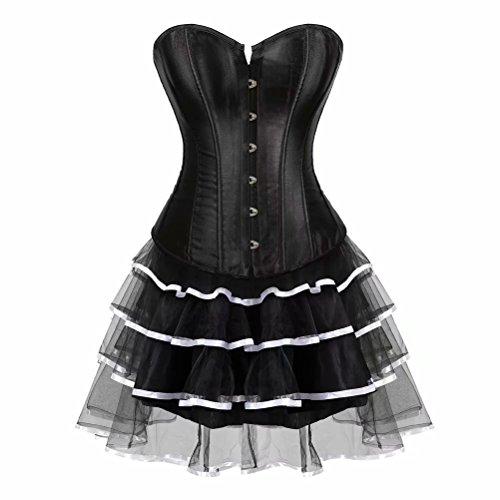 Vollbrust Corsage Korsett Kleid Corsagenkleid Tutu Bustier Rock tuetue Halloween Burlesque Damen Schwarz Weiß L