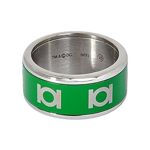Green Lantern Ring von DC Comics, Logoprint, Innenring mit drehbarem grünem Außenring, Edelstahl, in Geschenkbox - 57