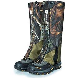 Huenco Outdoor Camuflaje snowpr Impermeable Agua Densidad Raquetas-Polainas Legging Alta protección piernas para Senderismo Senderismo Escalada Caza, LONG/MC05