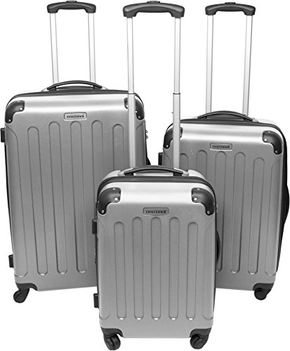 normani 3er Koffer-Set (auch einzeln) Trolley-Set Rollkoffer Reisekoffer Erweiterbar, Schloss, 4 Rollen, (M, L, XL) Farbe Silber Größe 3er Set