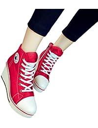 Donna Scarpe da Ginnastica Sportive Casuale Sneakers con Cerniera Laterale  e Stringate Chic Piattaforma Zeppa Alte 44be90ba92e