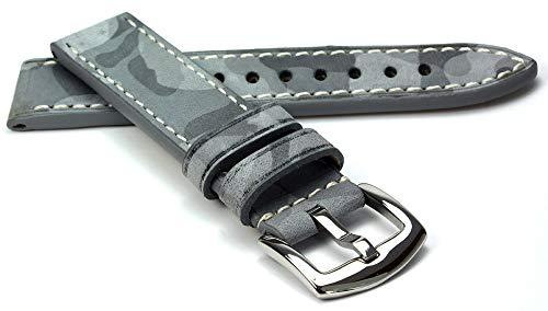 RIOS1931 Douglas Rindsleder Uhrenarmband handgemacht in Deutschland Robust 22mm Steingrau Camouflage - Band Und Uhr Baume Mercier